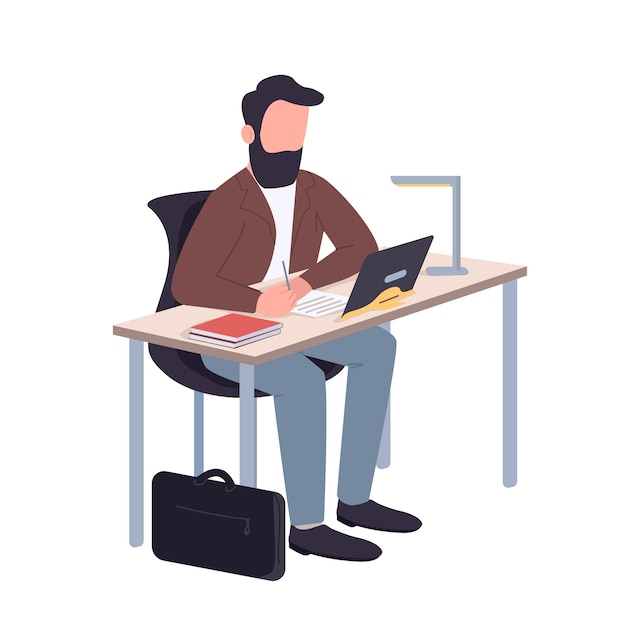 Man working at home flat color faceless character. school teacher sitting at desk isolated cartoon illustration for web graphic design and animation. remote education, online classes, webinar Premium Vector