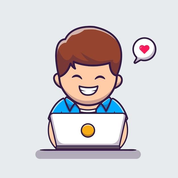 Uomo che lavora al computer portatile icona del fumetto illustrazione Vettore gratuito