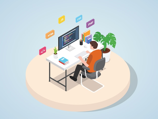 Man working on laptop programming coding website web mobile landing page template banner with isometric 3d flat style   illustration. Premium Vector