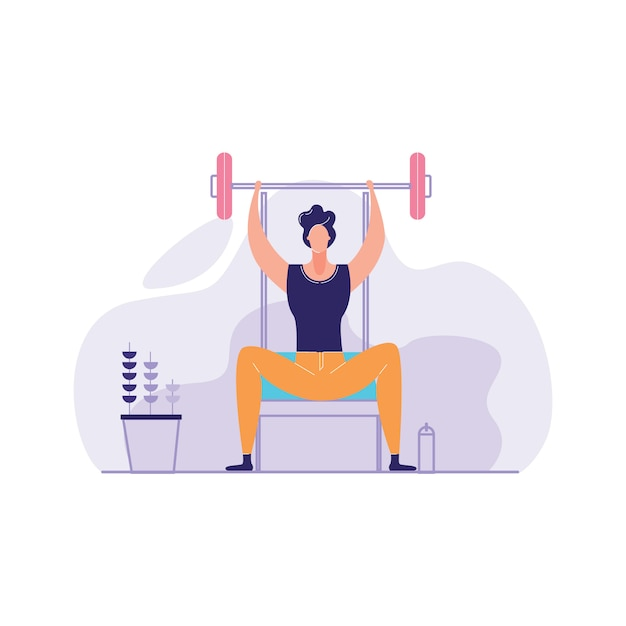 Man working out local gym Premium Vector