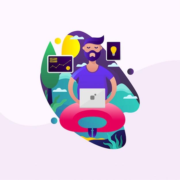 Man working outdoor illustration Premium Vector