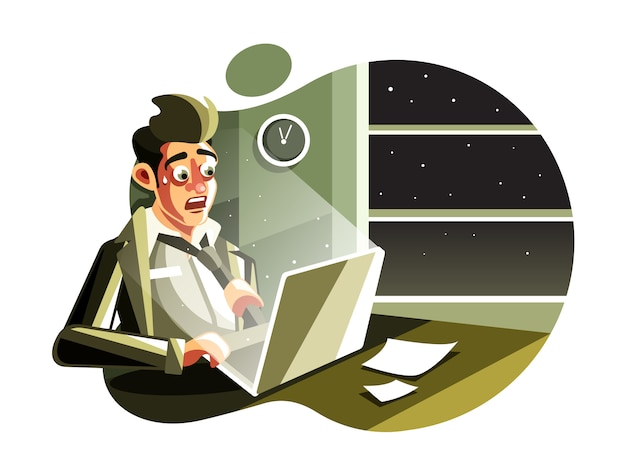 Man working overtime in a night at the office Premium Vector