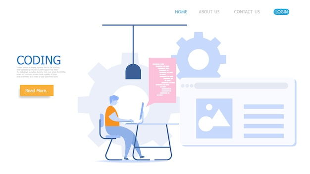 Man working with coding vector landing page Premium Vector