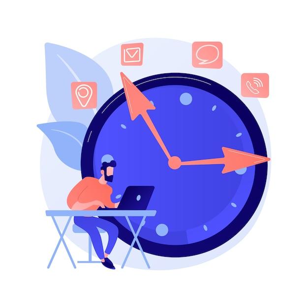 Uomo che lavora con il personaggio dei cartoni animati del computer portatile. libero professionista utilizzando il computer. attività freelance, lavoro a distanza, lavoro a distanza. gestione del tempo. ufficio a casa. Vettore gratuito