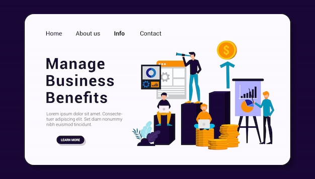 Premium Vector | Manage business benefits landing page template with  business human group concept, flat design.