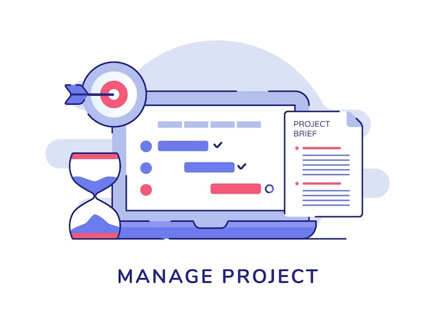 Manage project concept check list document on display laptop monitor hourglass target goal white isolated background Premium Vector