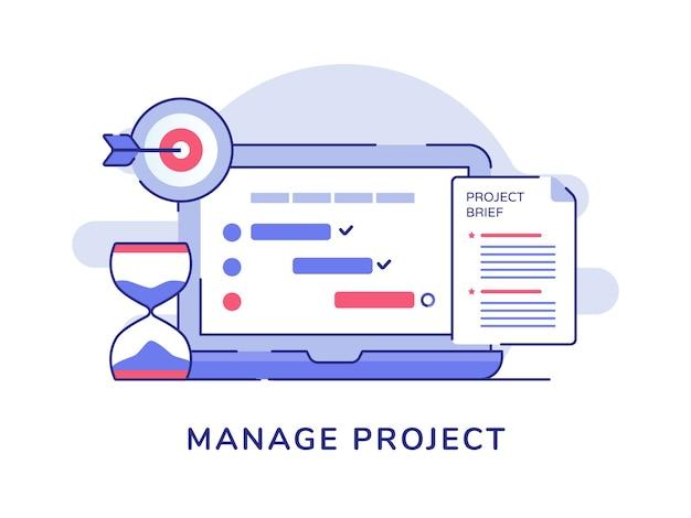 Управление документом контрольного списка концепции проекта на дисплее монитора ноутбука песочные часы целевой цели белый изолированный фон Premium векторы