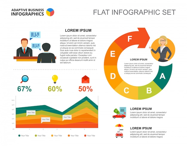 Management area chart template for presentation Free Vector