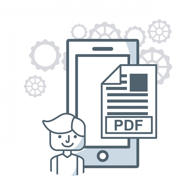 Animated man and pdf illustration