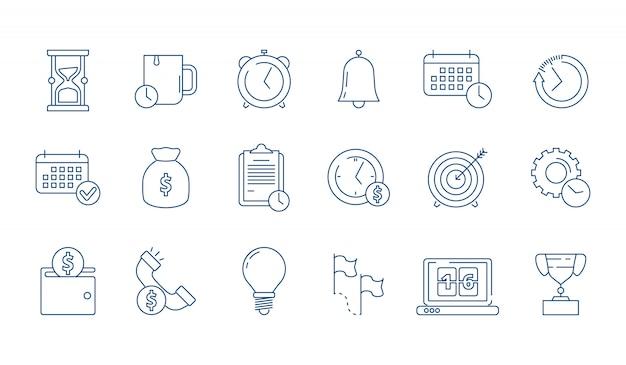 Management and finance elements linear icon set Premium Vector
