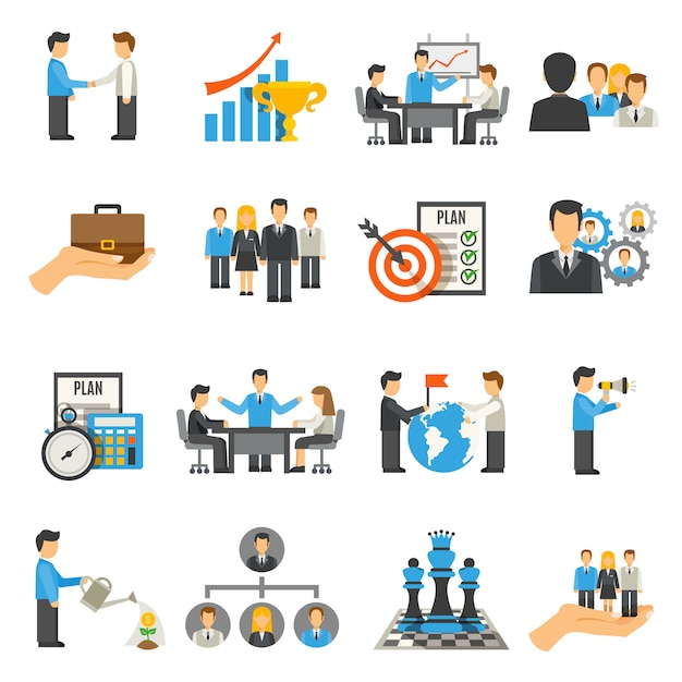 Management icons set Free Vector