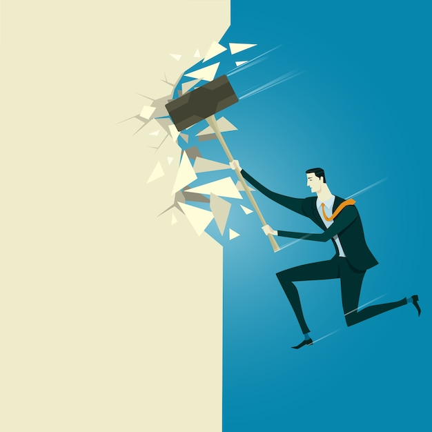 Manager breaking the wall. Premium Vector