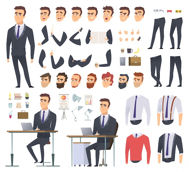 Manager creation kit. businessman office person arms hands clothes and items male character animation project Premium Vector