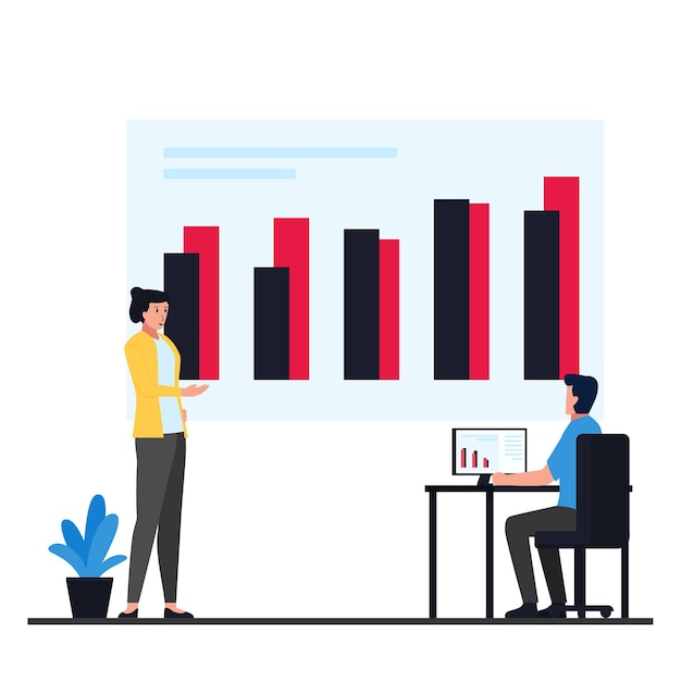 Manager discuss with employee about infographic metaphor data information. Premium Vector