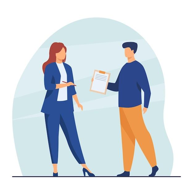 Менеджер дает документ женщине-боссу для подписи. руководитель, помощник-мужчина, договор. иллюстрации шаржа Бесплатные векторы