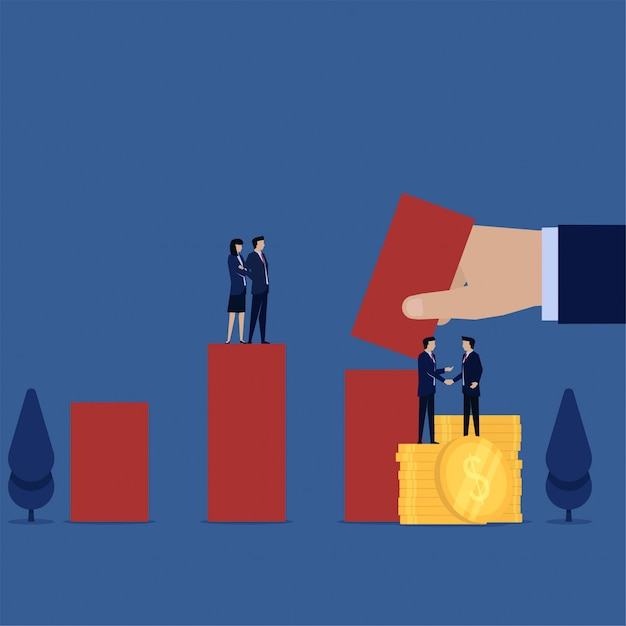 Manager handshake with coins and hand put bar chart metaphor of stock. Premium Vector