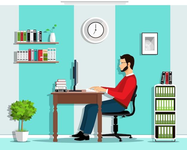 Менеджер в офисе. набор: человек, работающий в офисе, сидя за столом, глядя на экран компьютера, офис с мебелью. Premium векторы