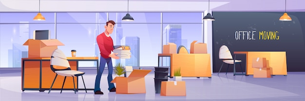Manager putting documents in boxes Free Vector
