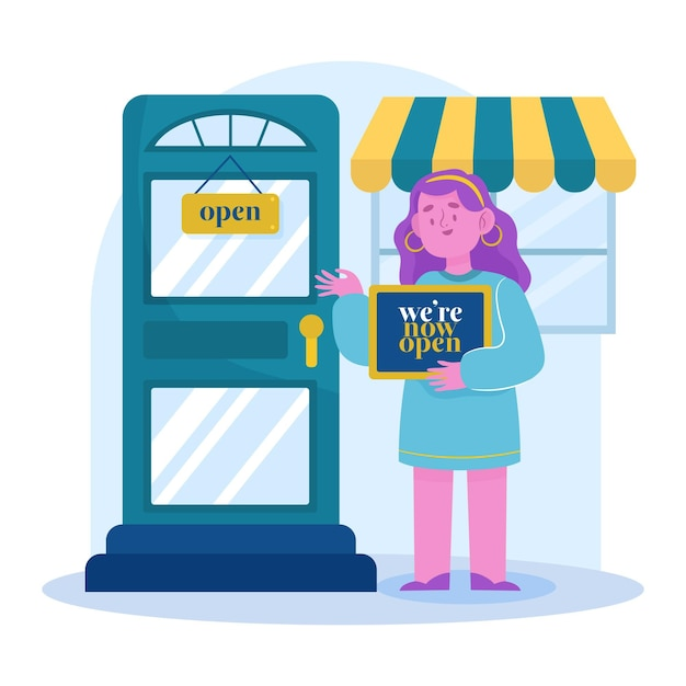 Manager re-opening her local store Free Vector