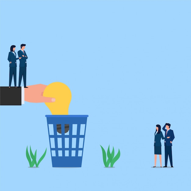 Manager throw lamp to trash metaphor of idea rejection. business flat concept illustration. Premium Vector