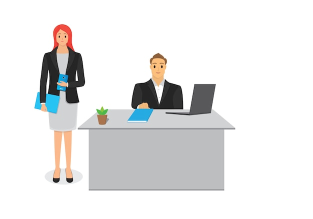 Manager with assistant Premium Vector