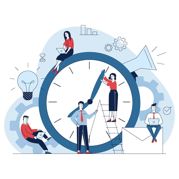 Managers adjusting clock hands Free Vector