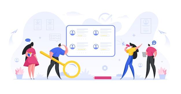 マネージャーは、資格のある従業員のフラットコンセプトのオンライン検索と採用を実施します Premiumベクター
