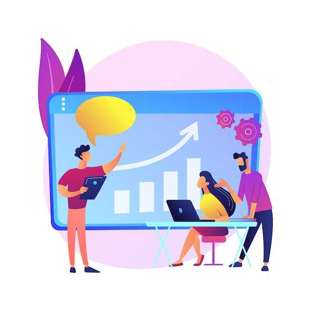 Managers meeting. business mentorship, workers conference, company strategy discussion. mentor teaching employees. teamwork and cooperation. Free Vector