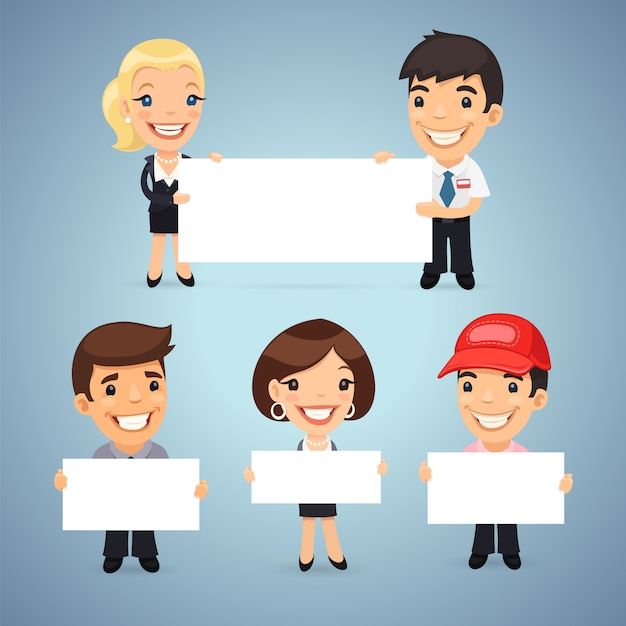 Managers with blank placards Premium Vector