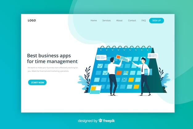 Managment landing page Free Vector