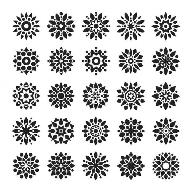 Мандала в стиле арабески с логотипом в черно-белом цвете Premium векторы