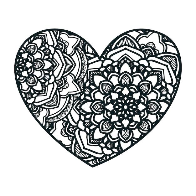 Mandala art with heart shape. | Premium Vector
