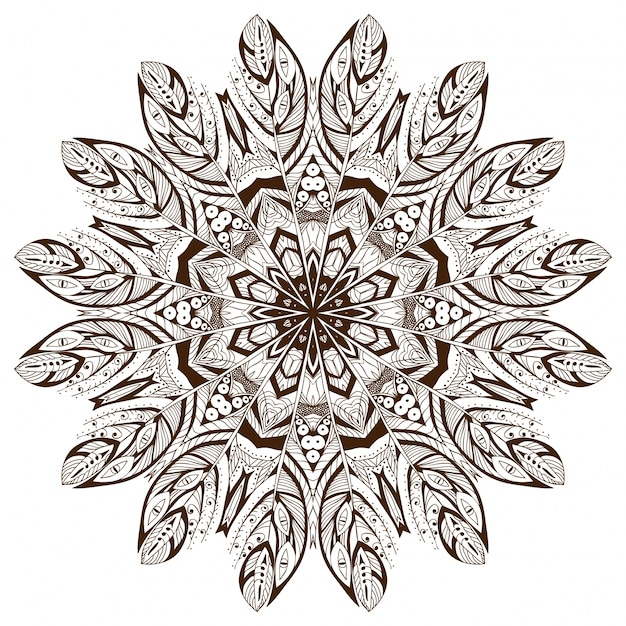 Mandala background design with feathers