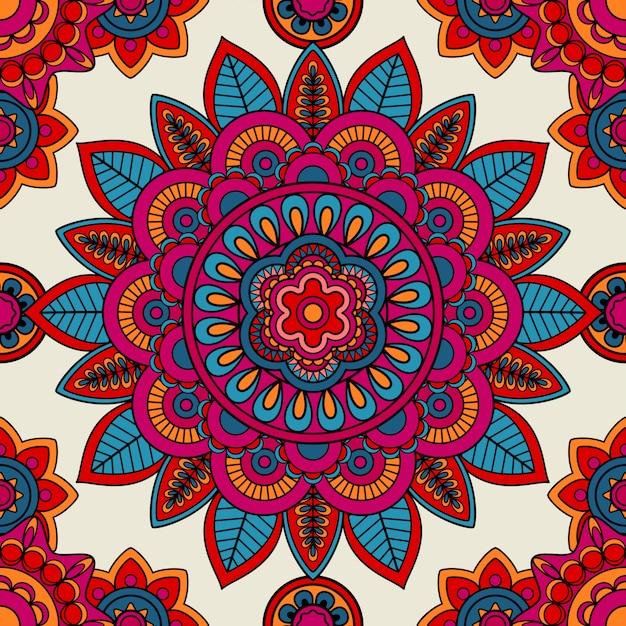 Mandala boho hand drawn seamless pattern Premium Vector