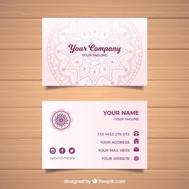 Mandala business card template Free Vector