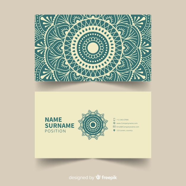 Mandala business card template Premium Vector