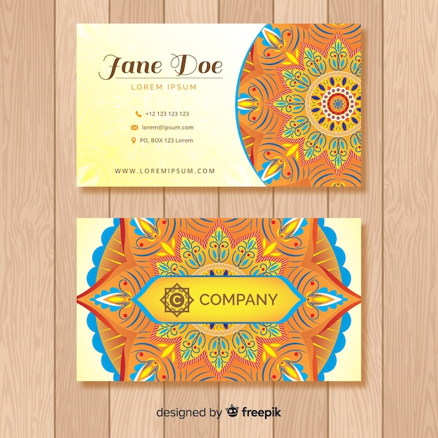 Mandala Business Card Template Vector Free Download