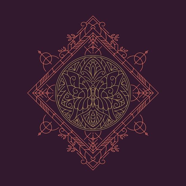 マンダラ蝶ラインアートの幾何学的な図 Premiumベクター