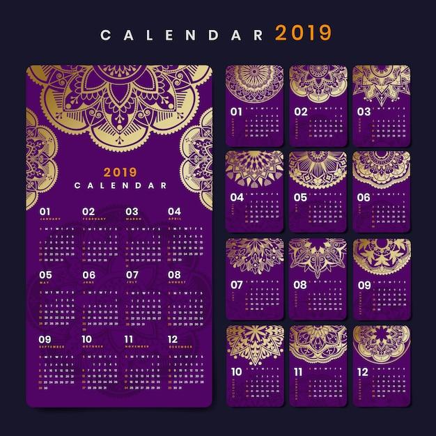 Mandala calendar mockup Free Vector