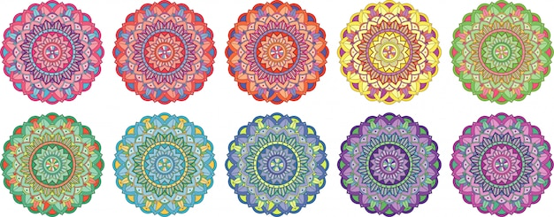 Mandala collection designs isolated Free Vector