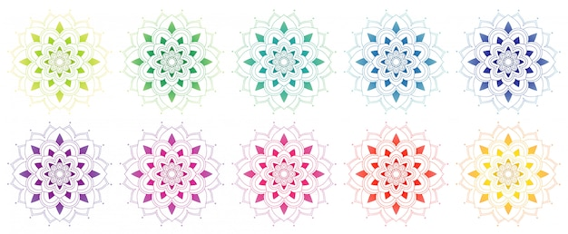 Mandala collection in many colors Free Vector