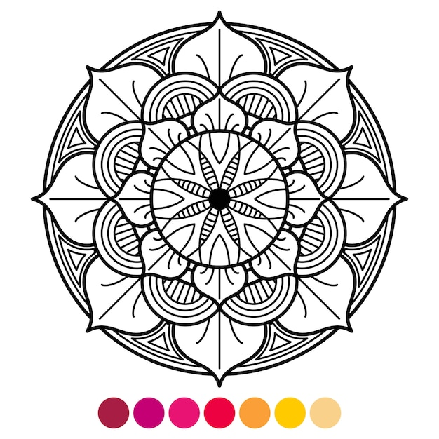 - Premium Vector Mandala Coloring Page For Adults. Antistress Coloring With  Color Sample
