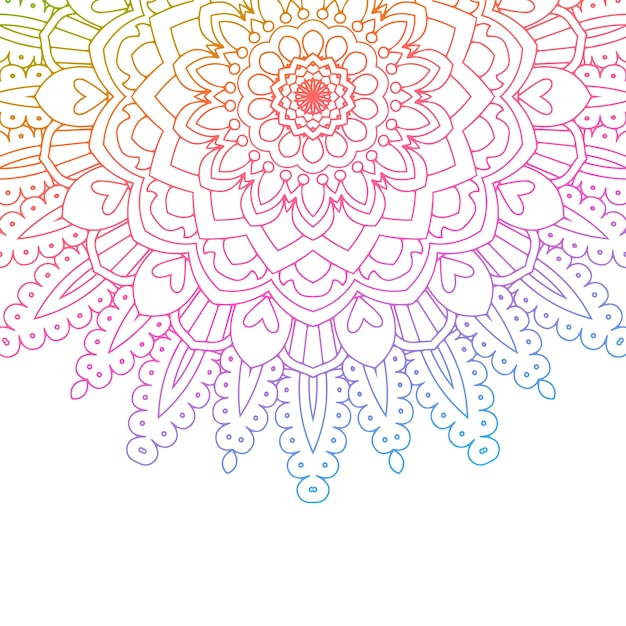 Mandala design with rainbow colours Free Vector