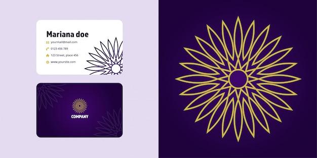 Мандала рисунок и визитная карточка набор. монолайн логотип бренда Premium векторы