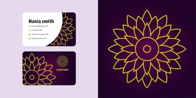 Mandala drawing and business card set. monoline logo brand Premium Vector