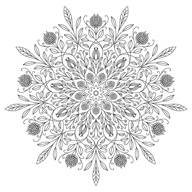 白い背景に黒い線で描く曼荼羅。美しいヴィンテージの丸いパターン。エスニックな華やかな背景。 Premiumベクター