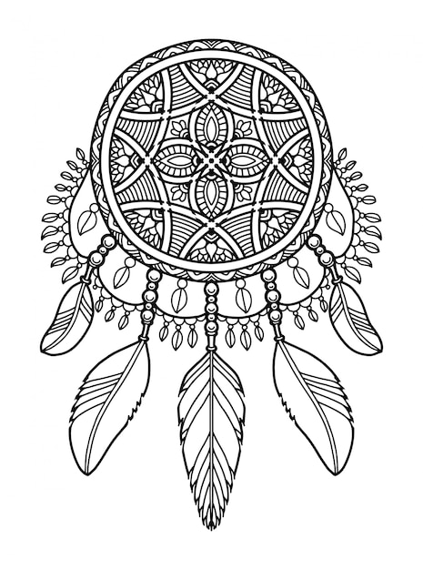 Mandala dream catcher coloring book label | Premium Vector