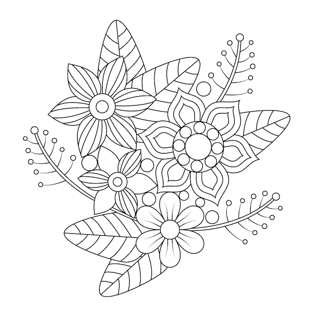 Mandala flora and leaf bouquet coloring for adults. Premium Vector