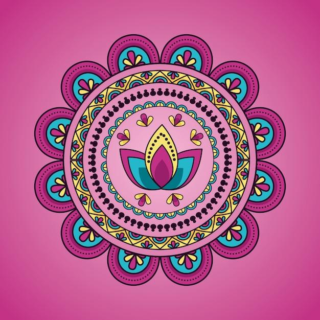 Mandala floral decoration ethnic Free Vector