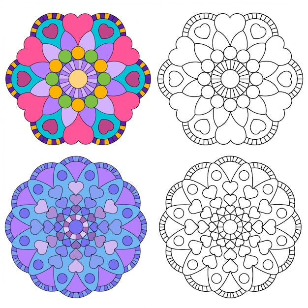 Mandala flower 2 style coloring for adults picture for relative therapy. Premium Vector